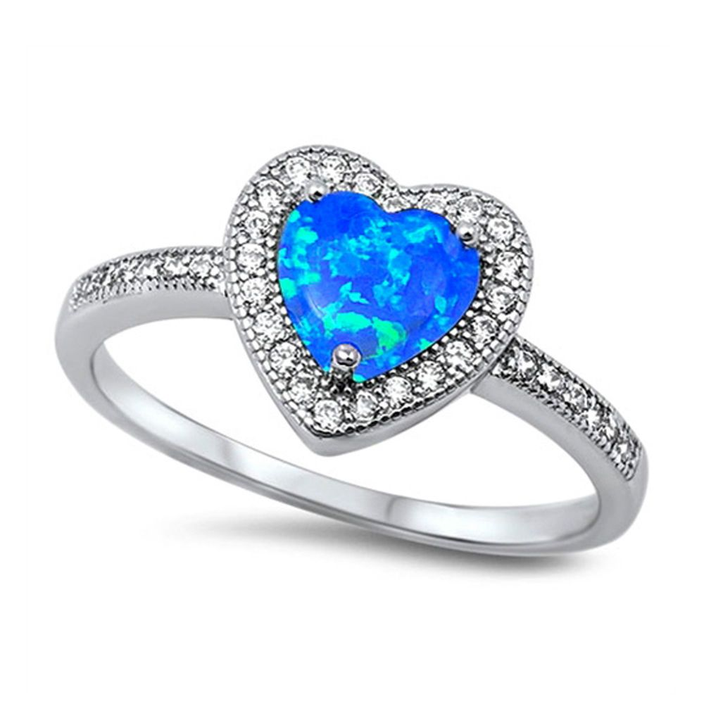 STONE RING Genuine Sterling Silver Size 11 CUTE SHIMMERING WHITE OPAL HEART C.Z