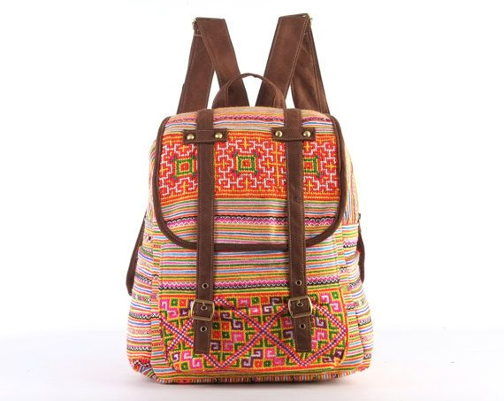 Tribal Slouchy Hippie Backpack Unique Boho Gypsy by TaTonYon