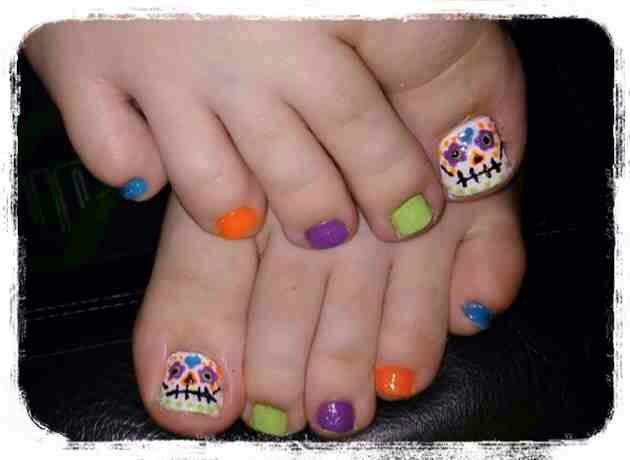 Sugar Skull Toes Toe Nails Halloween Toe Nails Toe Nail Art