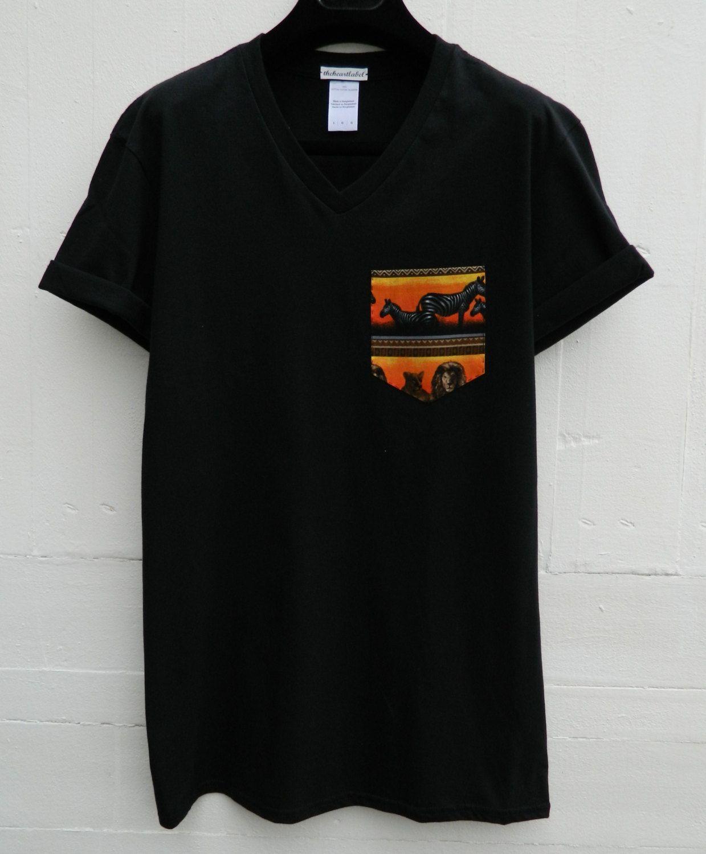 Black t shirt unisex - Men S V Neck Zebra Safari Pattern Black Pocket T Shirt Men S T