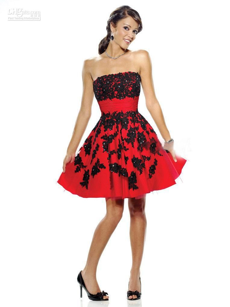 Red And Black Party Dresses Photo Album - Reikian