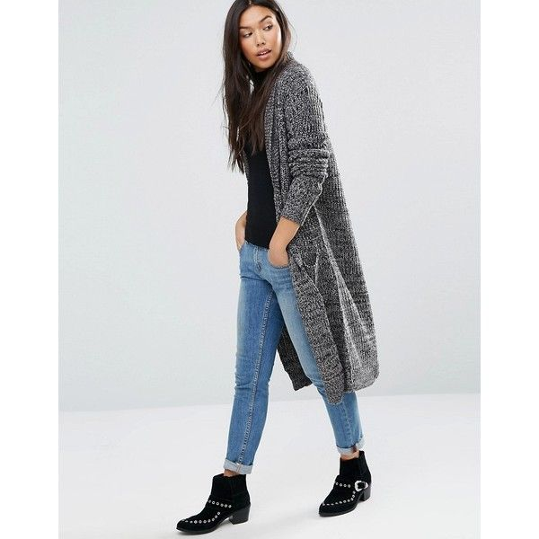 QED London Longline Cardigan With Front Pockets ($33) ❤ liked on ...