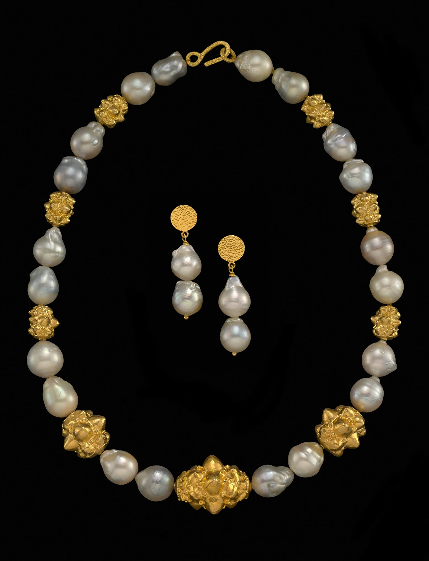 South Sea Pearls And Majapahit Style 22k Gold Beads Necklace