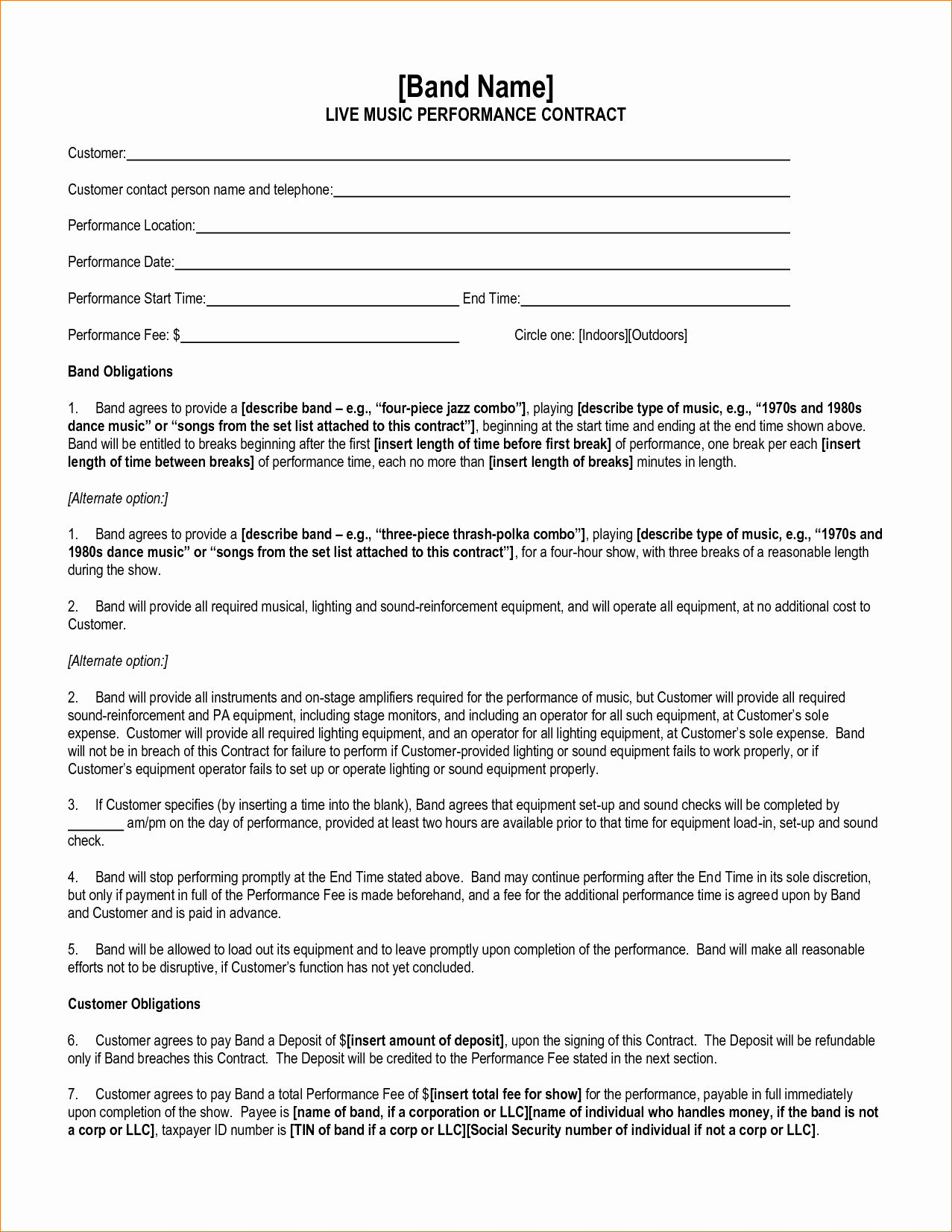 Music performance contract template in 2020 contract