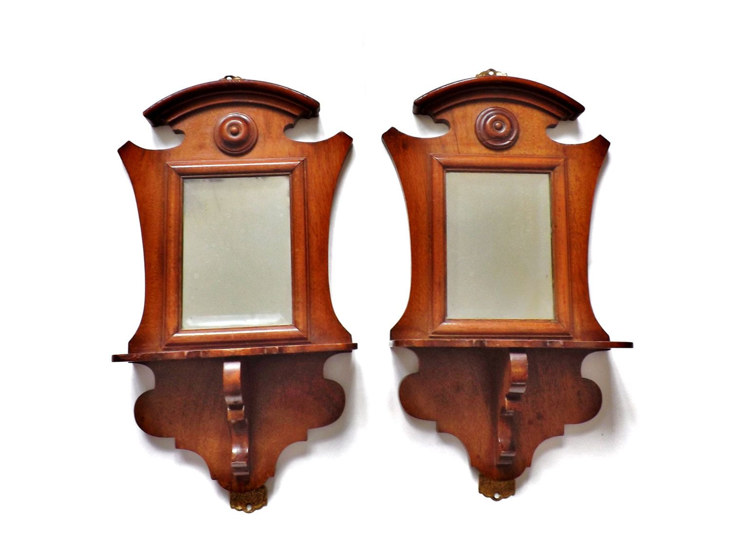Mirror Sconces Wall Decor: Small Antique Mirror, Victorian Wooden Shelf, Hanging