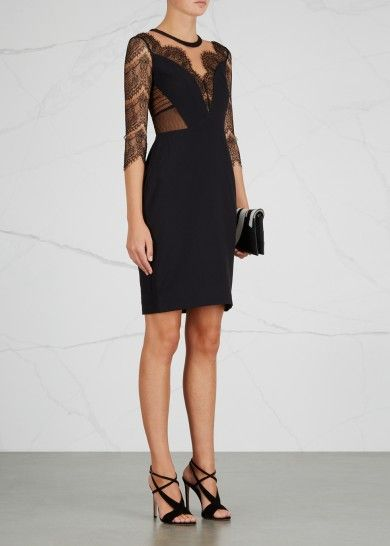 Lucha black lace-panelled dress - Evening Dresses - Dresses