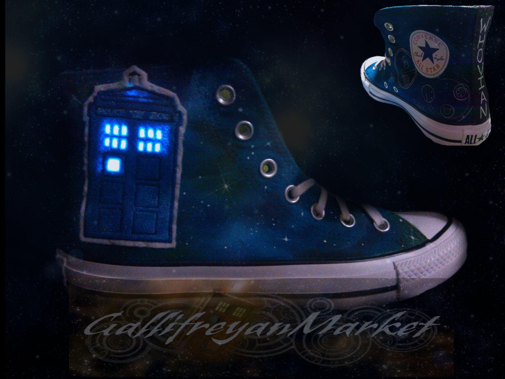 e2a9d3ec8c8f Light up TARDIS Converse!! Doctor Who Shoes!