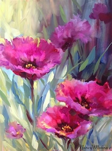 "Daily Paintworks - ""Bees Eye View Purple Poppies by Floral Artist Nancy Medina"" - Original Fine Art for Sale - © Nancy Medina"