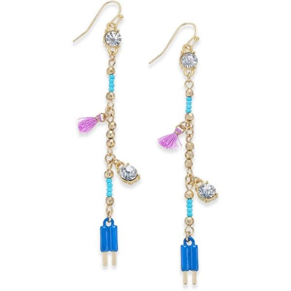 Inc International Concepts Gold-Tone Multi-Charm Linear Drop Earrings, (£11) ❤ liked on Polyvore featuring jewelry, earrings, blue multi, blue earrings, inc international concepts, gold tone jewelry, fringe tassel earrings and blue jewelry