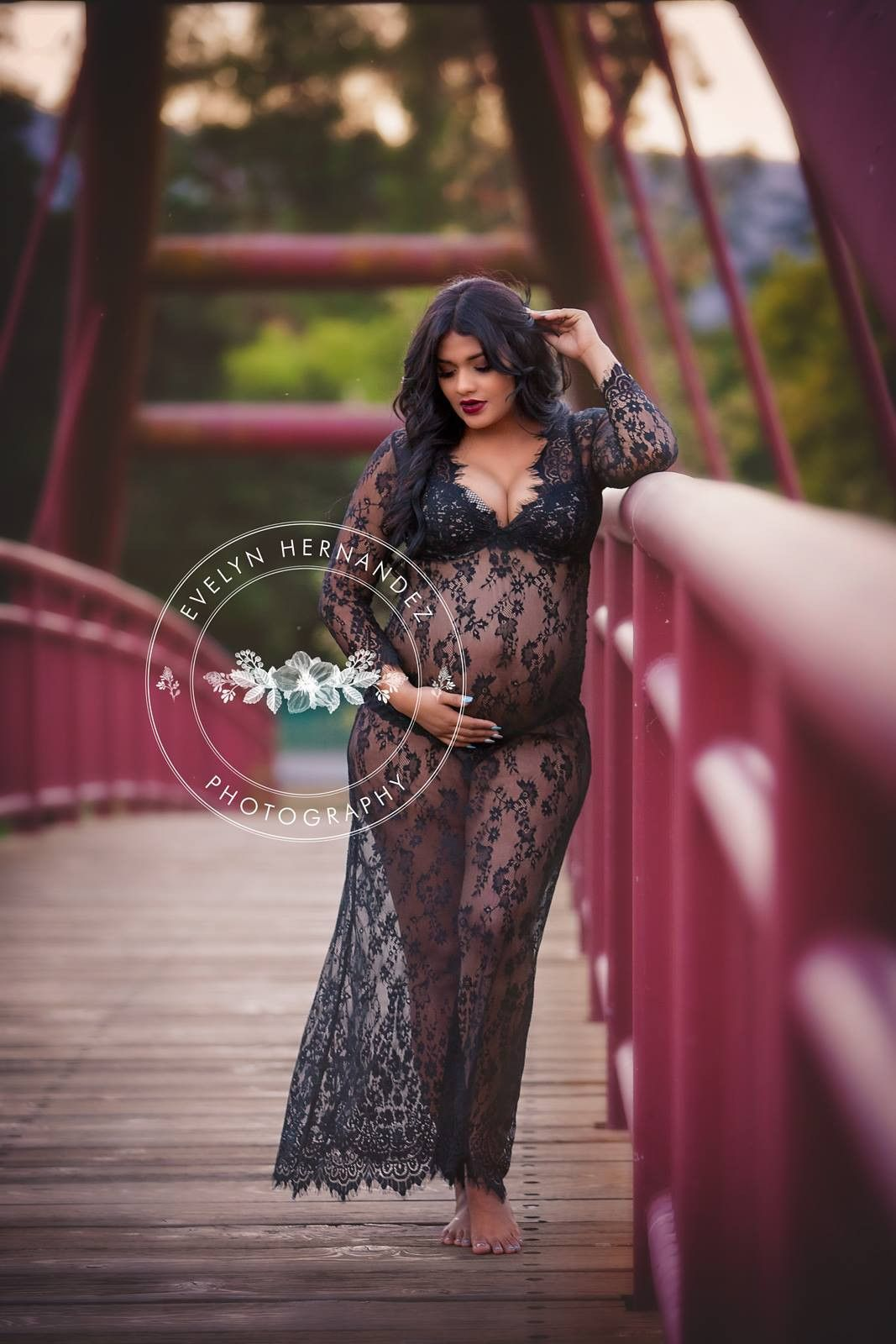 Brava black lace maternity dress ready to shipsheer dress