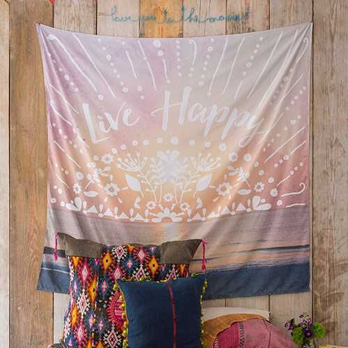 """""""Live Happy"""" Tapestry - Tapestries are so fun and versatile!! This super-soft tapestry is brightly designed with the sentiment, """"Live Happy"""" and a finished edge? making it perfect for walls, beds or picnic and beach days!!"""