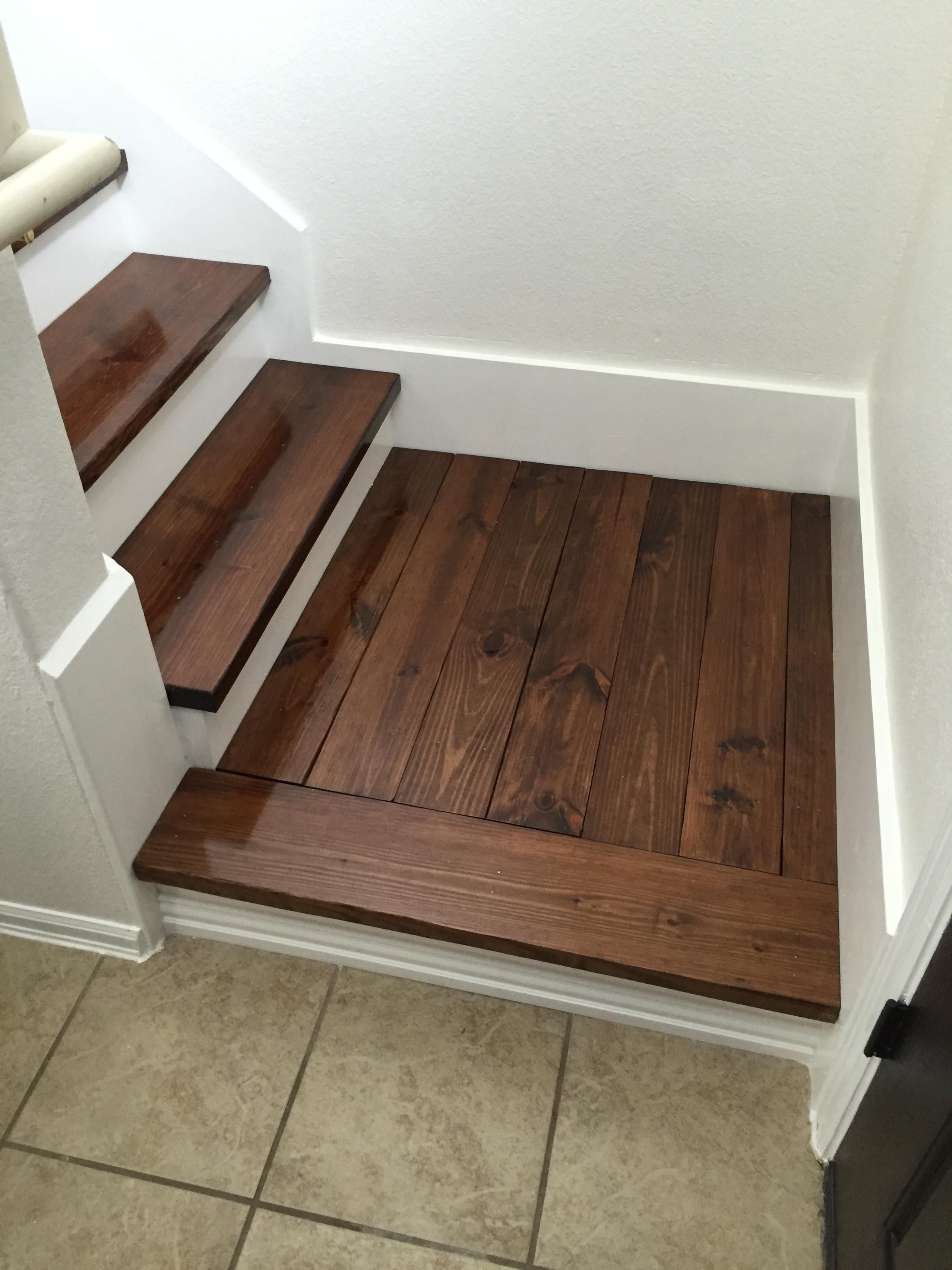 Replaced the carpet on our stairs with wood. (# ...