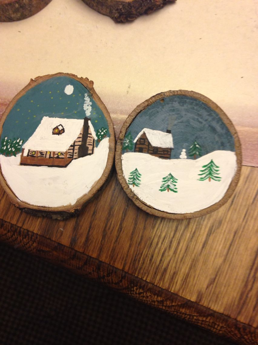 Winter Cabin Wood Slice Ornaments Christmas Crafts