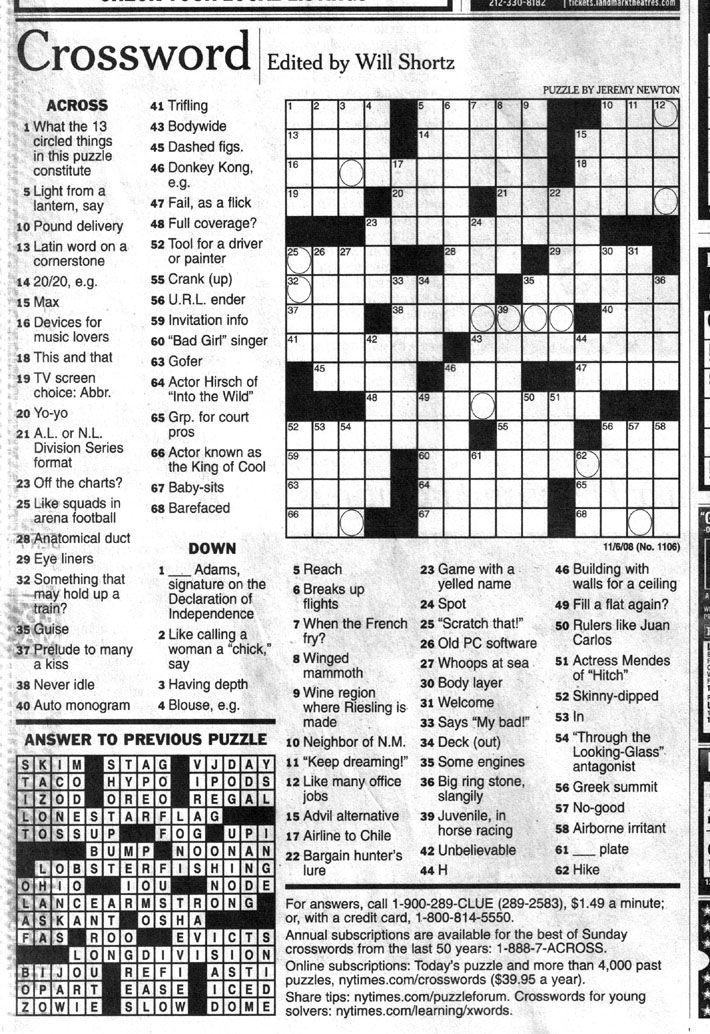 Those magic words edited by Will Shortz. I really want to