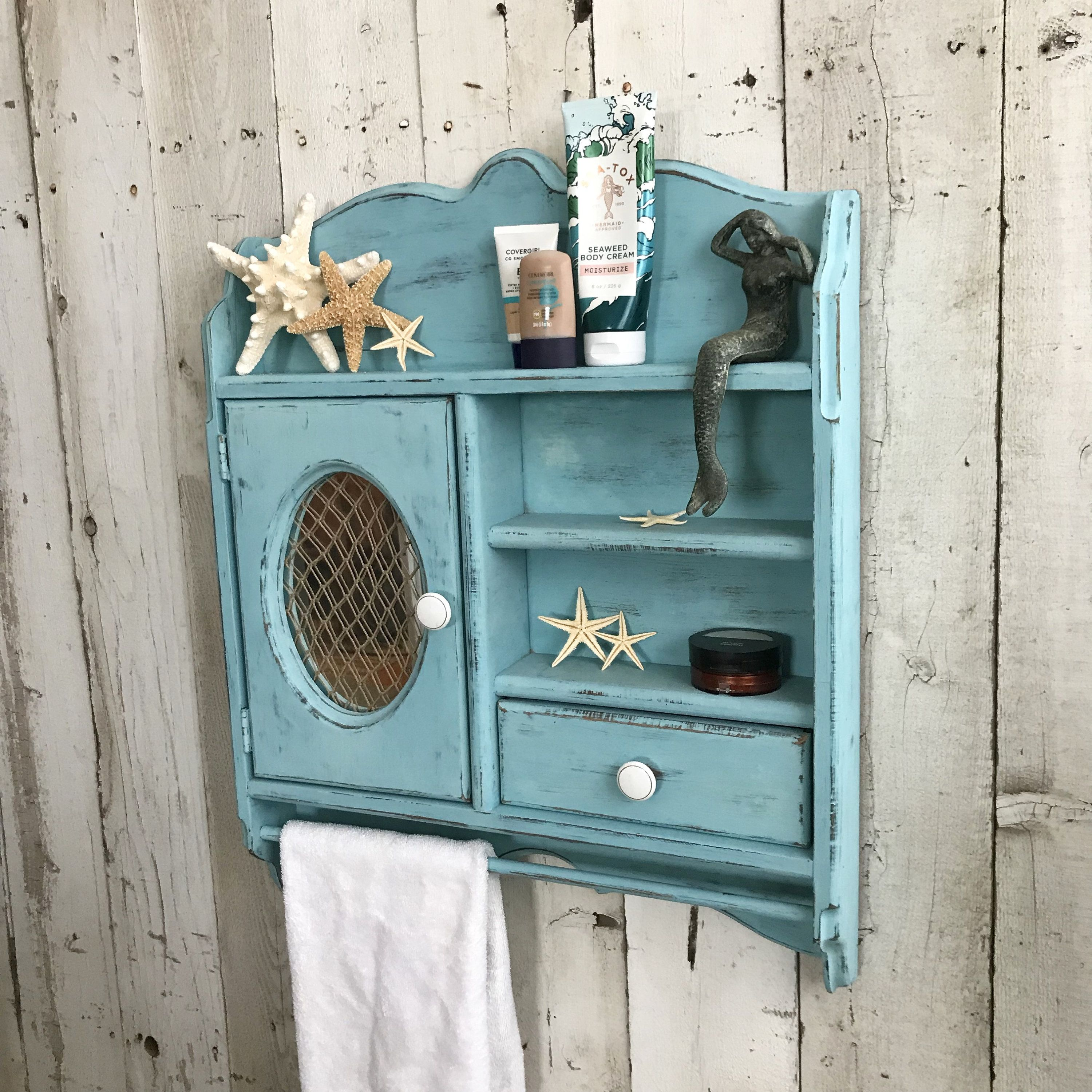 Rustic Wood Wall Cabinet With Towel Holder Mirror Bathroom Cabinet Towel Rack Kitchen Wall Spice Cabinet Turquoise Blue Coastal Beach Rustic Wood Walls Bathroom Cabinets Rustic Bathroom Cabinet