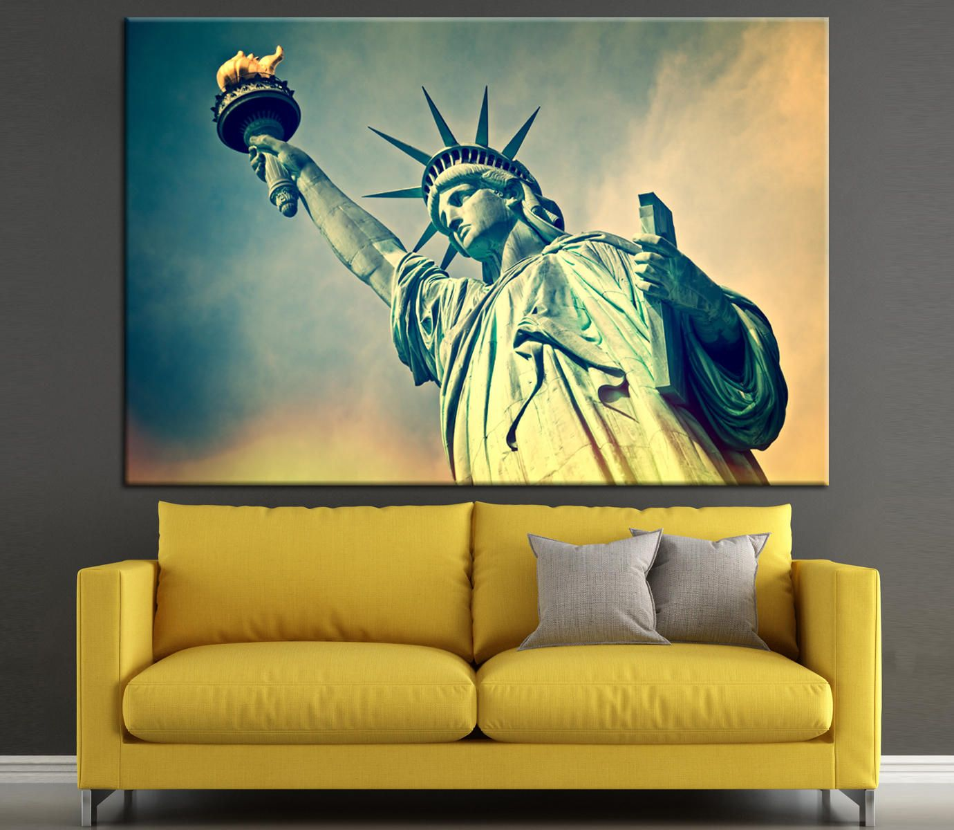 Close up of the statue of liberty, New York City Large Canvas Print ...
