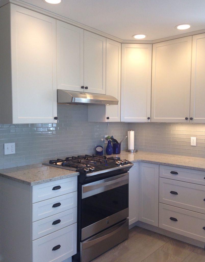 White shaker cabinet cambria darlington quartz counter for White bathroom cabinets with bronze hardware