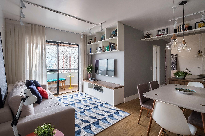 Sala De Estar Integrada Pequena Moderna Urbana Clean Apartamentos