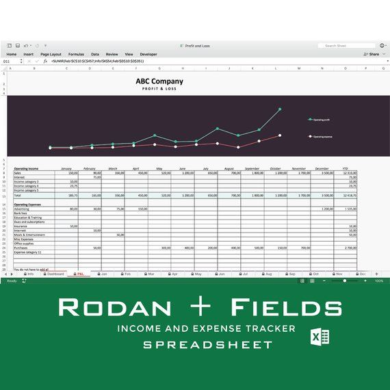 Rodan + Fields Income and expense tracker, Monthly Cash Flow - business cash flow spreadsheet