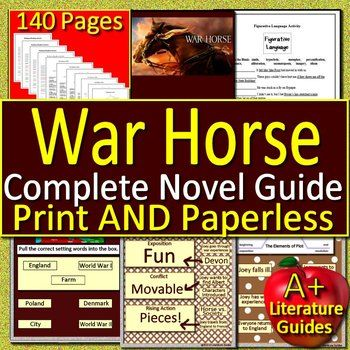 War horse novel study unit: printable and paperless with self.