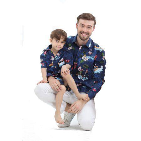 5d67652967ed6e Matching Father Son Hawaiian Luau Outfit Christmas Men Shirt Boy Shirt  Shorts Navy Santa Flamingo