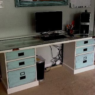 New desk made from an old French door and some drawers ...