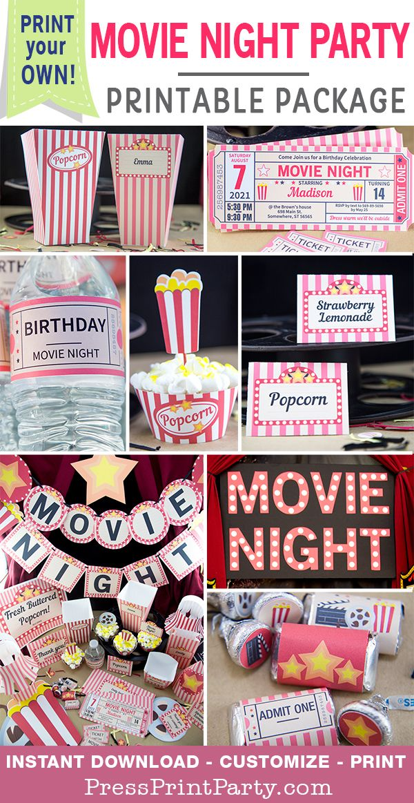 MOVIE NIGHT PARTY PACKAGE printable. Throw an awesome movie night party with these decorations, invitations and more. Fully editable at home. Perfect for birthdays, weddings, baby showers, bridal showers, sweet 16s, & quinceaneras. All the ideas you need for a movie night party theme in one place: Decorations, cupcake toppers & wrappers, water bottle wrappers, favor boxes, banners, etc…Customizable party supplies - Press Print Party! #movieparty #movienight #partydecorations #pressprintparty