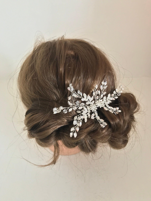 Vintage Decorative Floral Crystal Silver Hair Clip