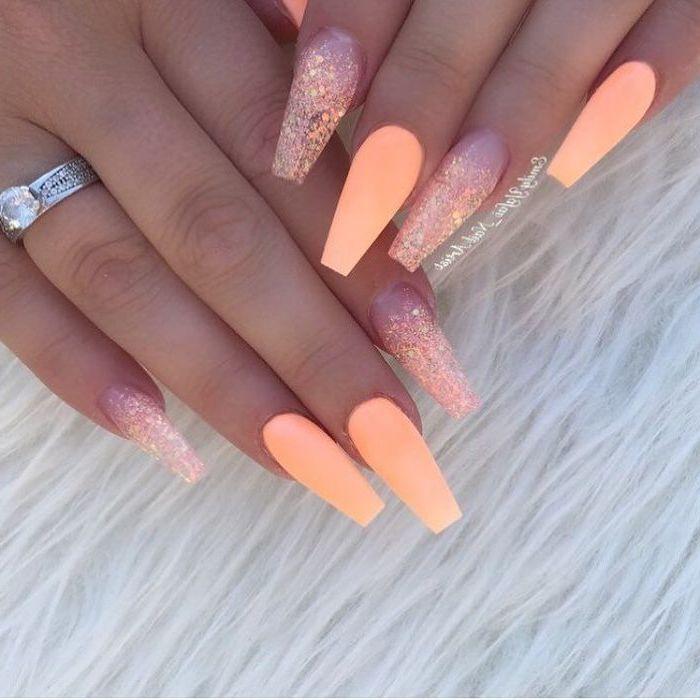 1001 Ideas For Cute Nail Designs You Can Rock This Summer Coffinnails Orange Nail Polish Orang Peach Acrylic Nails Coffin Nails Long Coffin Nails Designs