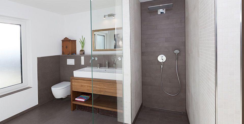 Badezimmer Fliesen Grau Braun