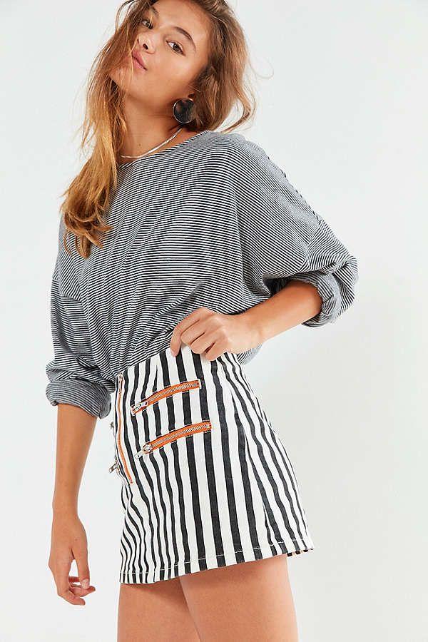 395ff0da4b Slide View: 4: BDG Striped Contrast Zipper Mini Skirt Stripe Skirt, Urban  Outfitters