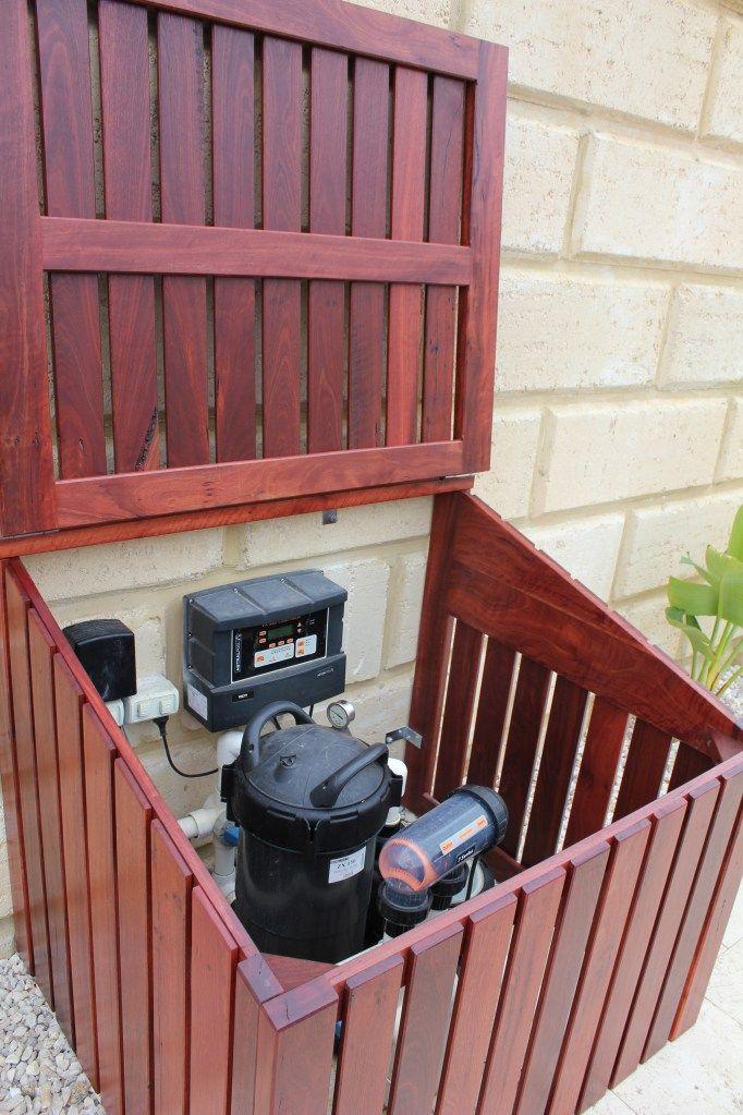 Pool Equipment Enclosure Ideas hide pool equipment screenstohidepoolequipment Hinged Lid On Pool Pump Enclosure Instead Of This Kind Of Wood Use Regular
