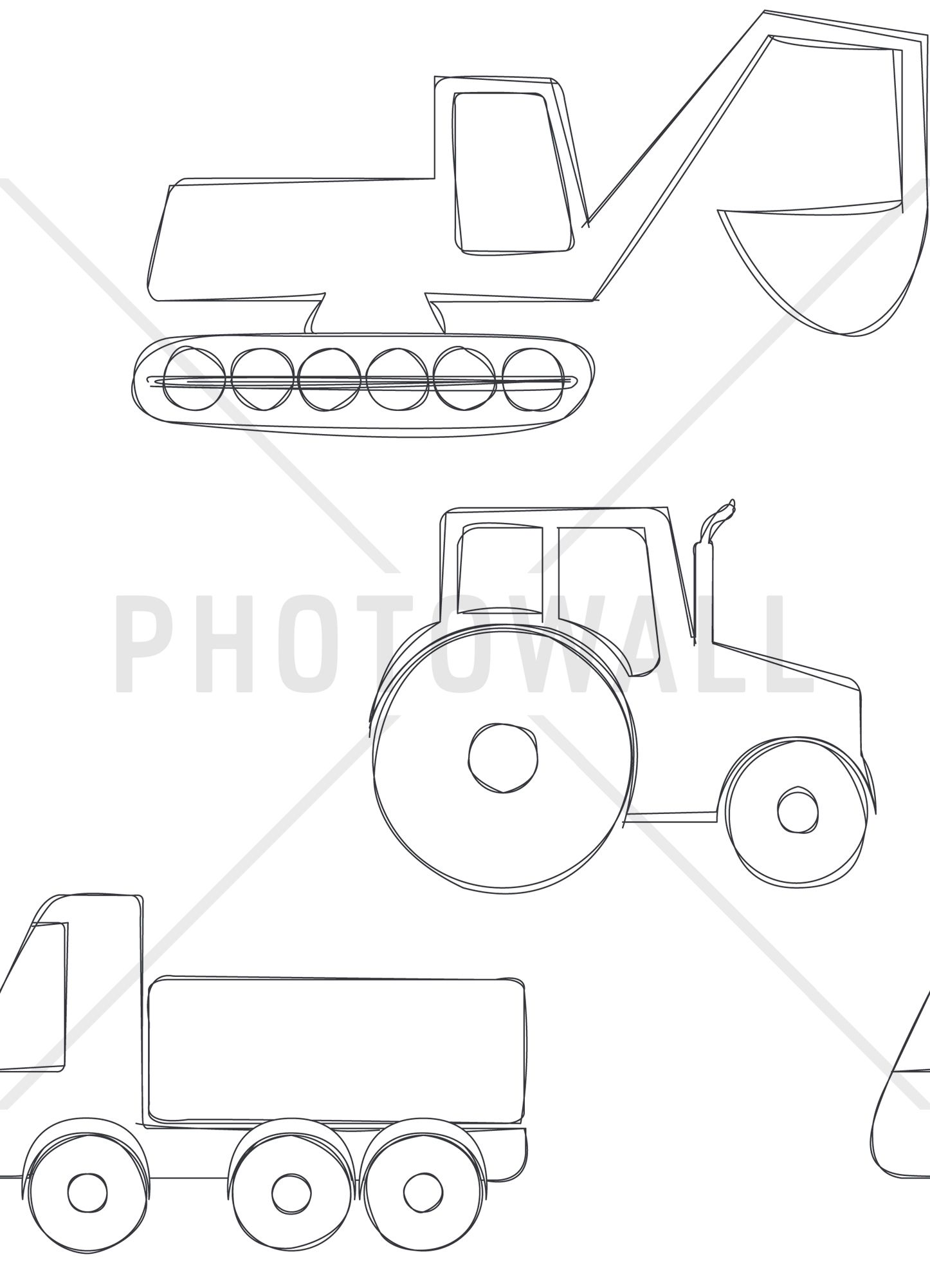 Large Vehicles - Black - Tapetit / tapetti - Photowall