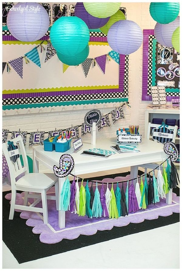 Midnight Orchid by Schoolgirl Style! www.schoolgirlstyle.com purple, teal, turquoise, lime green #classroom decor #classroom themes #school #bulletin boards #chevron #polka dots #paisley by andimy