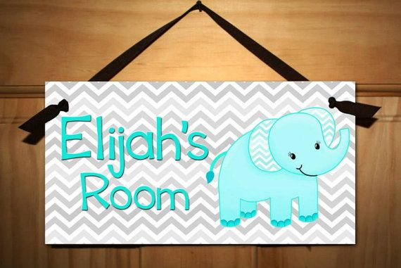 Grey and Aqua Blue Chevron Elephant Boys Nursery Children\u0027s Bedroom