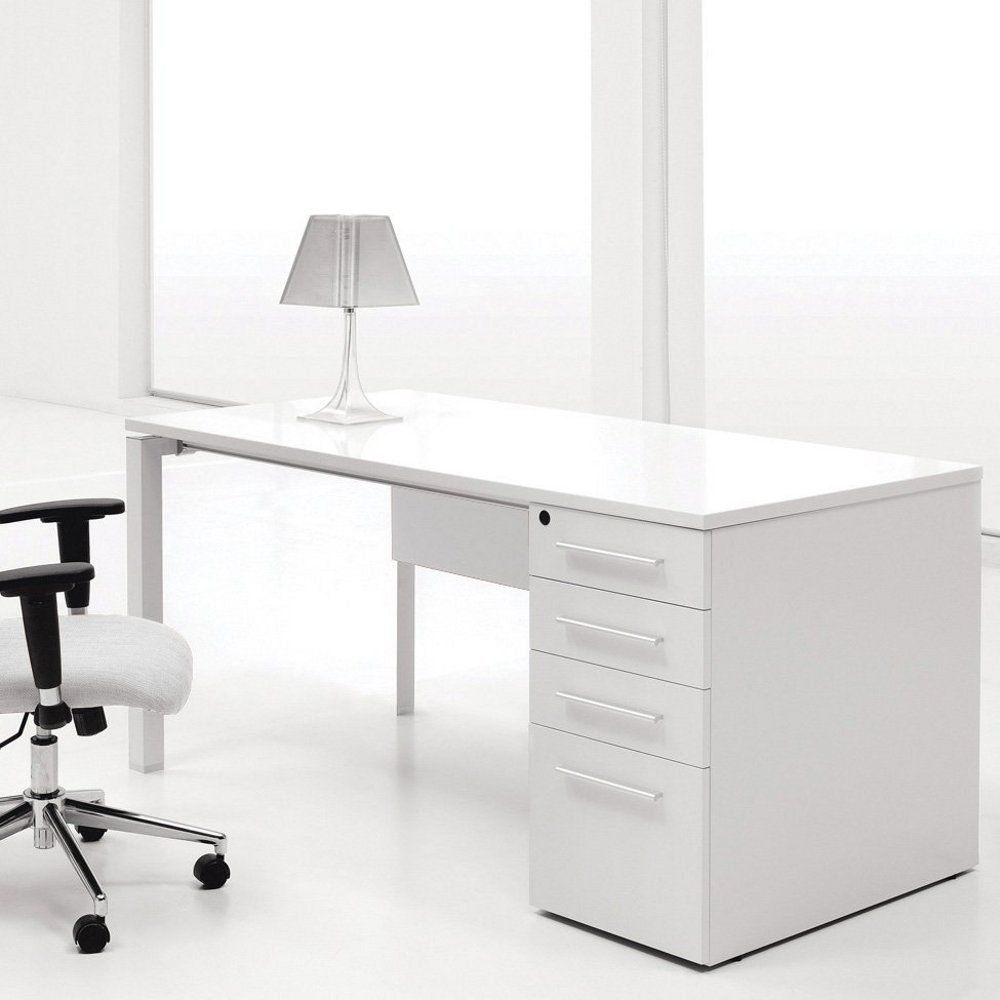 Ergo Office White Lacquer Computer Desk with Single Pedestal ...