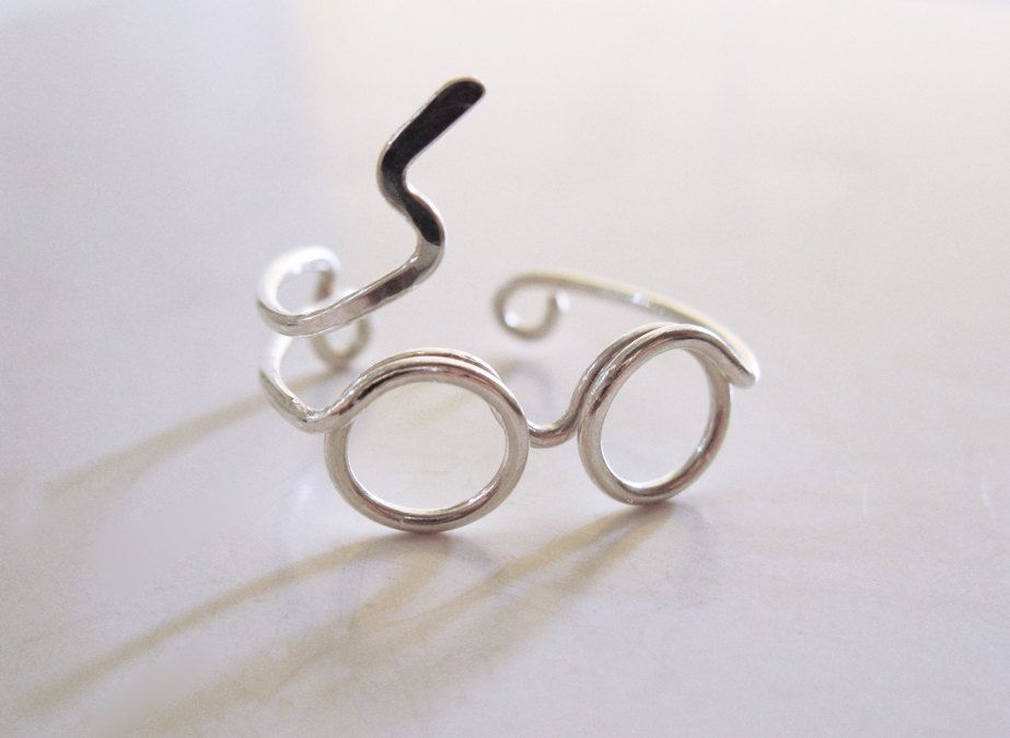 Harry Potter Ring - Glasses Ring with Lighting Scar - Sterling Silver Wire Wrap Ring, Adjustable - cute and kinda nerdy! via Etsy.