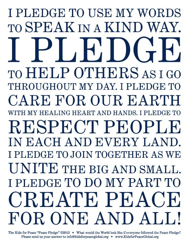 Kids For Peace Peace Pledge Peace Education Bullying
