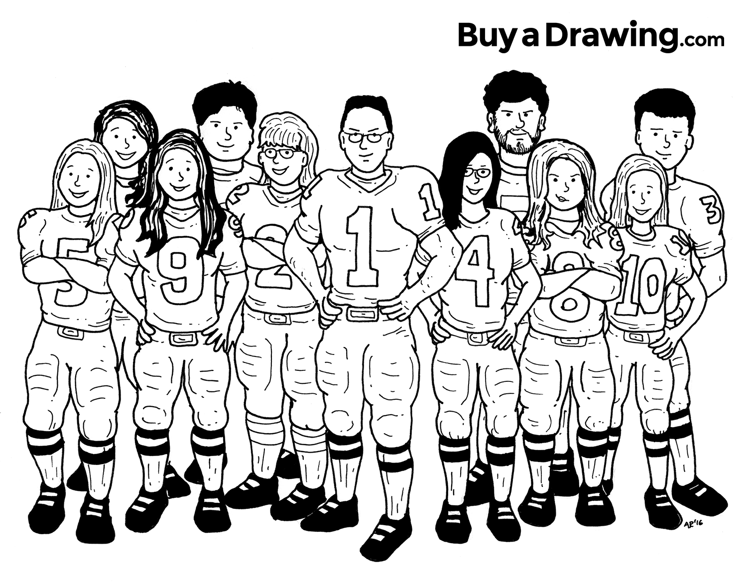 A 11 Member Family Football Caricature Drawing Done For A