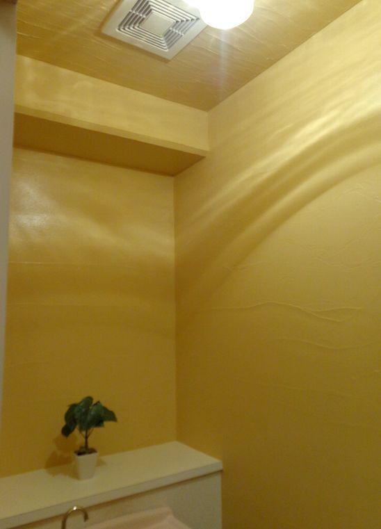 トイレの壁 天井を 漆喰美人 という漆喰でりリフォーム