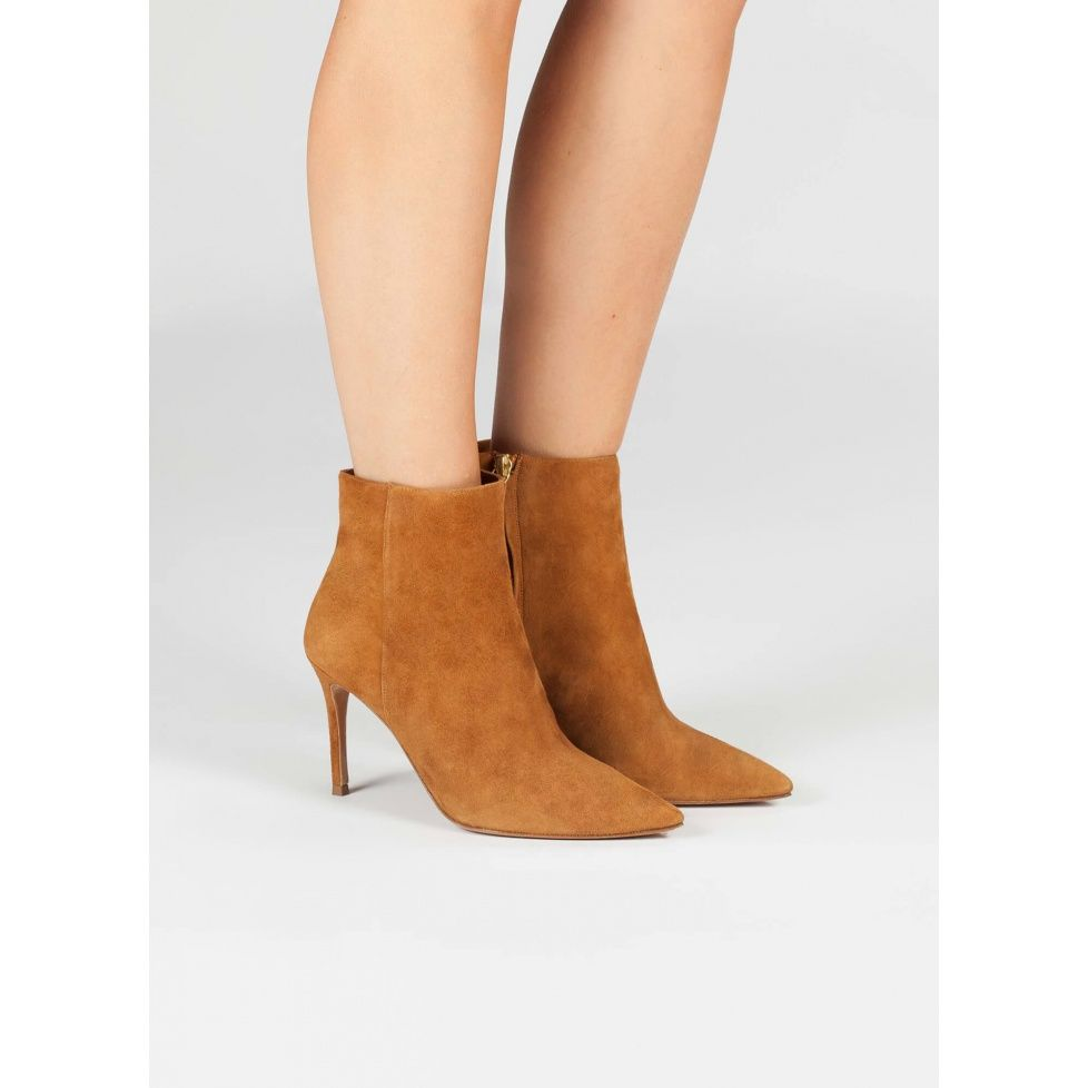 6d3dd53b7f918 Camel high heel ankle boots - online shoe store Pura Lopez | FW18 ...