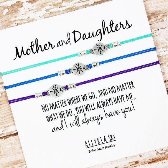 Set of Three Mother Daughter Bracelets | No Matter Where No Matter What | Mom, Daughter Gift Jewelry | Mother's Day | Matching Bracelets
