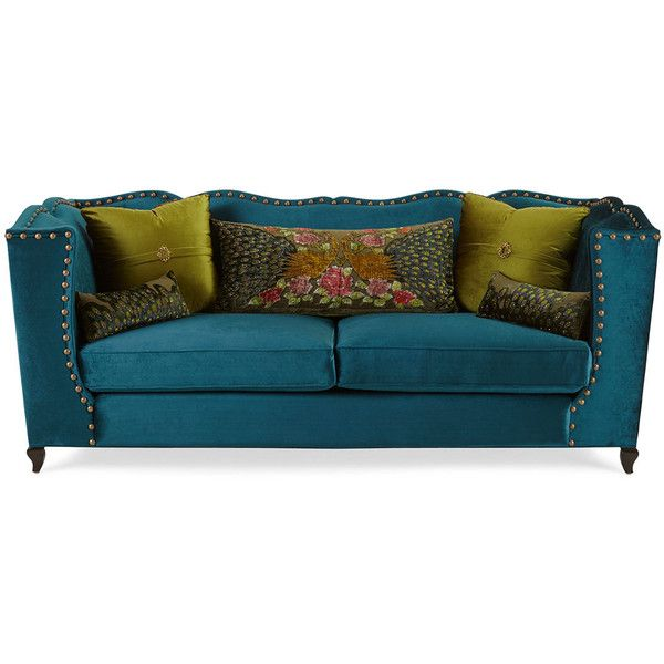 Haute House Santiago Peacock Sofa ($4,899) ❤ Liked On Polyvore Featuring  Home, Furniture