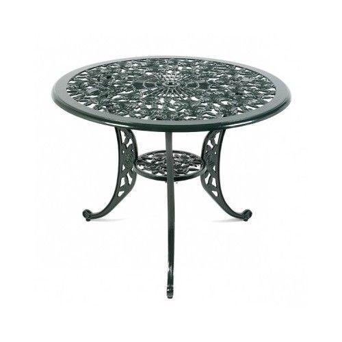 Round Metal Patio Table W Parasol Hole Wild Rose Decor Outdoor