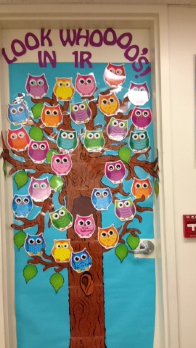 My Owl theme classroom door Inviting and cute Teaching Ideas