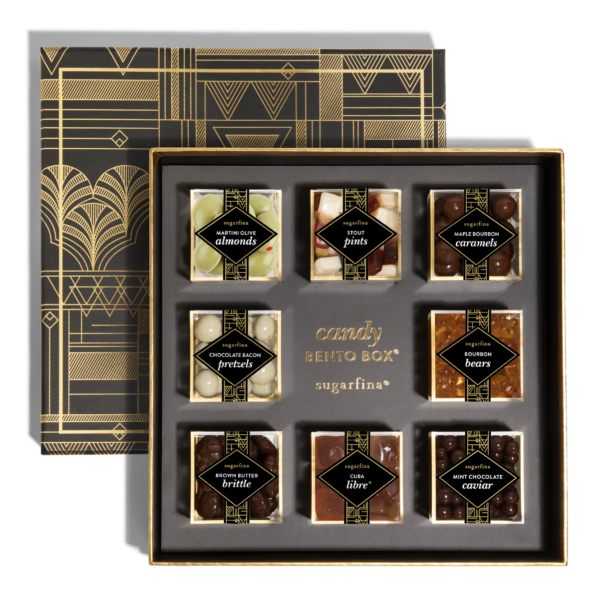 06f2f60be488 The Vice Collection 8pc Candy Bento Box® is wrapped in a sleek black and  gold foil gift box and holds eight lucite cubes (approx 3.25oz each) filled  with ...
