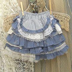 """Girl's Ruffled Skirt With """"Bustle"""" Back Custom Made"""