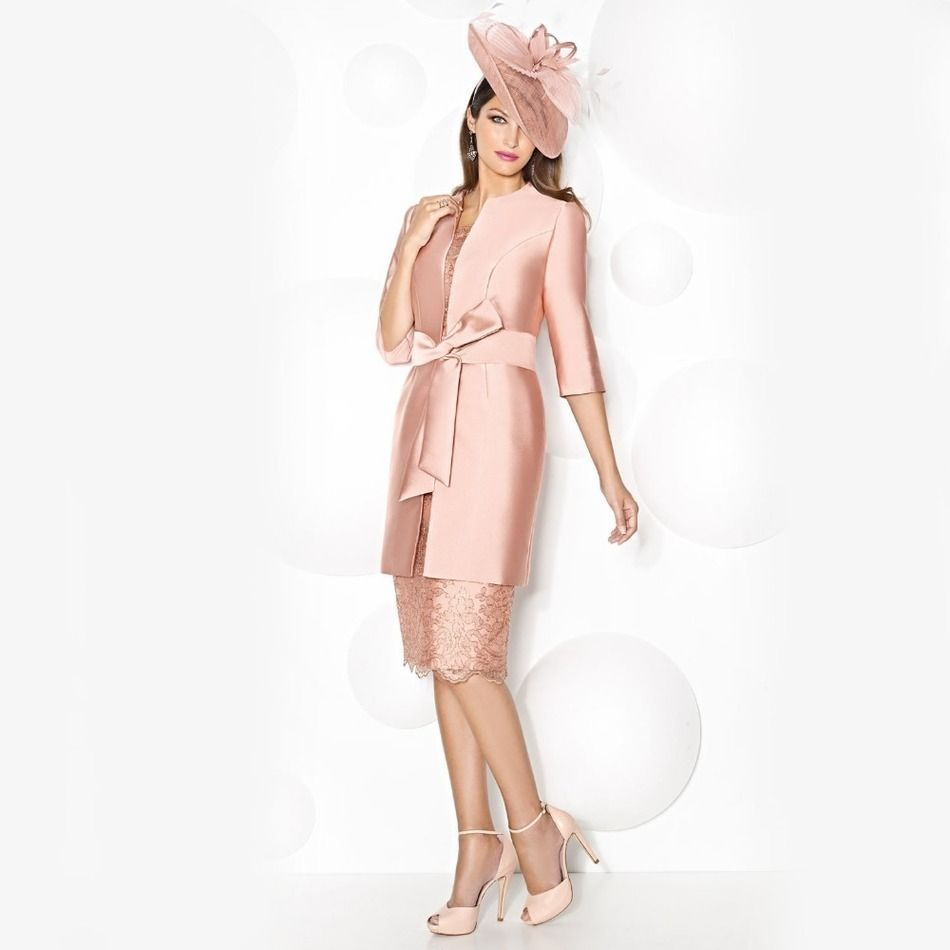 Pink lace dress with jacket  Click to Buy ucuc Modest Sheath Nude Pink Long Mother of the Bride