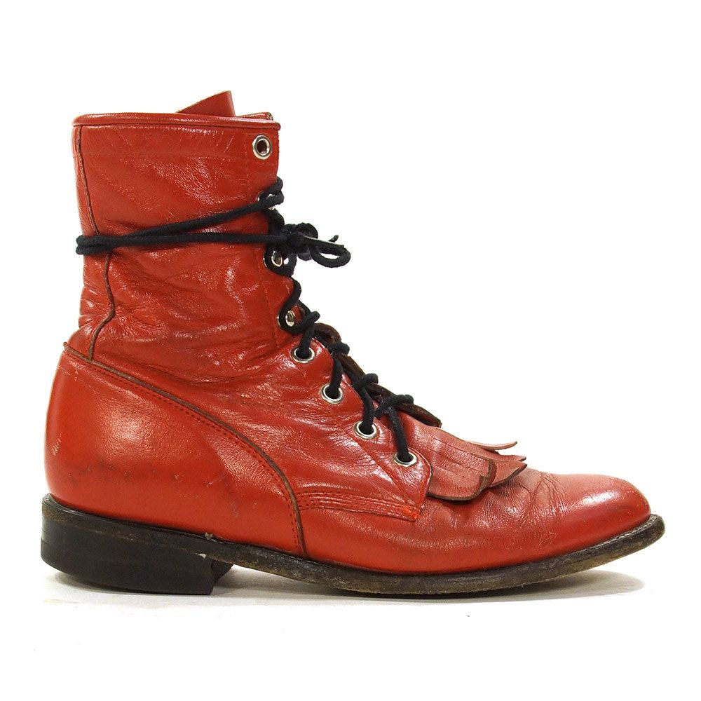 a052979a4ef8 Justin Lace Up Ropers   Vintage Red Leather Ankle Boots   Packer   Western  Fringed Kiltie   Granny Booties   USA Made   Women s Size 7 by SpunkVintage