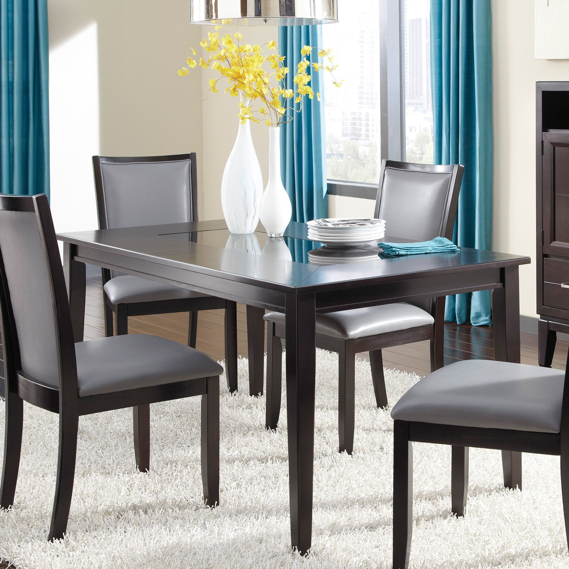 Bring Contemporary Style To Your Dining Room With The Trishelle Rectangular Table Featuring A Black Glass Top Insert Designed By Ashley Furniture This